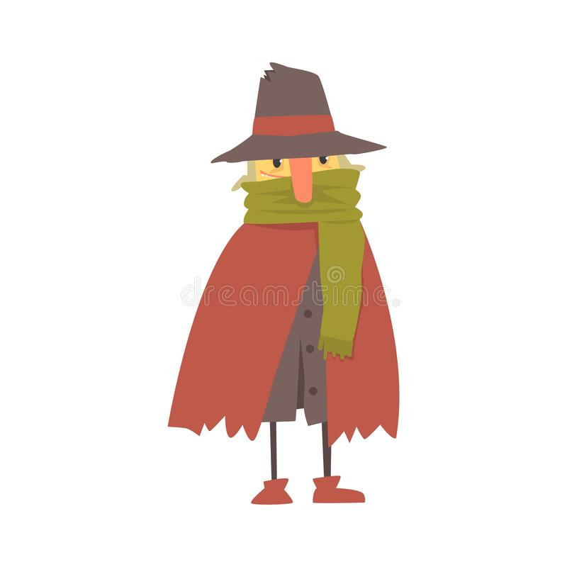 Carácter sin hogar maduro en ropa desigual, persona del hombre del desempleo que necesita el ejemplo del vector de la ayuda ilustración del vector