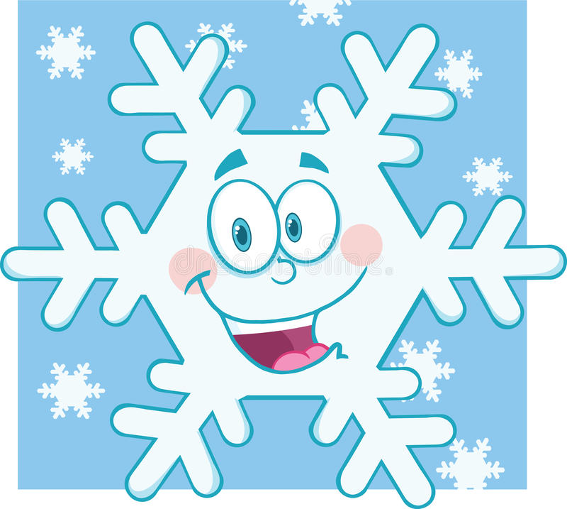 Carácter sonriente de la mascota de la historieta del copo de nieve libre illustration