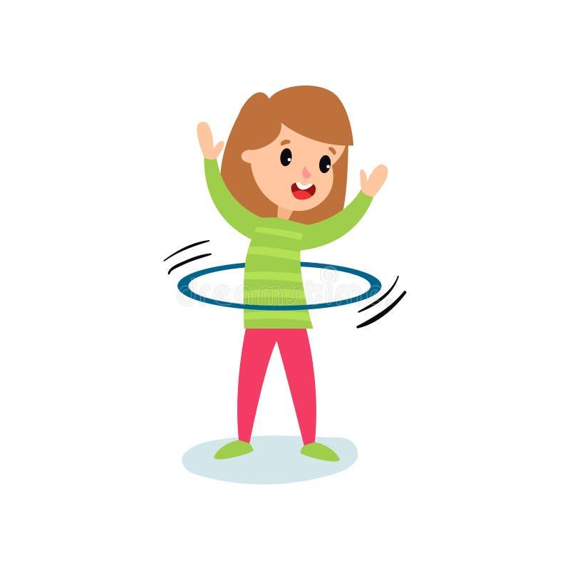 Carácter sonriente de la niña que hace girar un aro del hula alrededor de la cintura, ejemplo del vector de la historieta de la a stock de ilustración