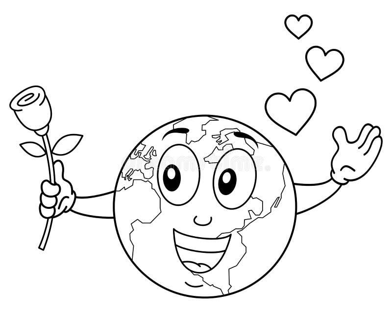 Carácter sonriente de la tierra que colorea con Rose ilustración del vector