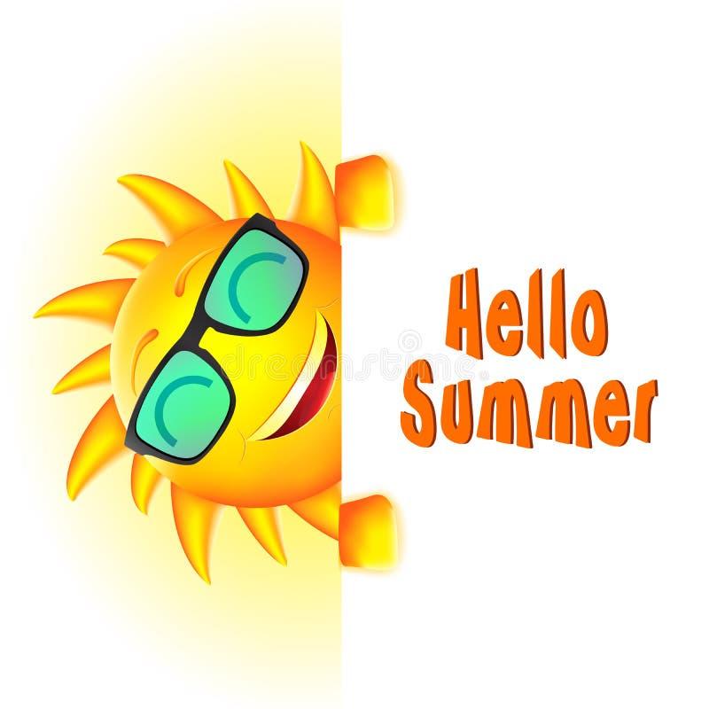 Carácter sonriente de Sun con hola el texto del verano y el espacio blanco stock de ilustración