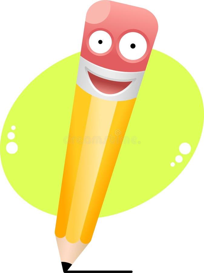 Carácter sonriente del lápiz stock de ilustración
