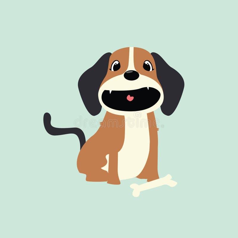 Carácter sonriente del perro ilustración del vector