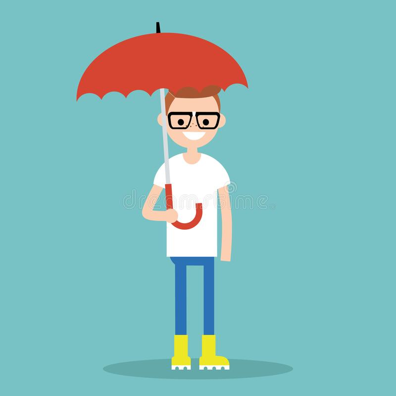 Carácter sonriente joven con el paraguas que lleva la bota de goma amarilla stock de ilustración