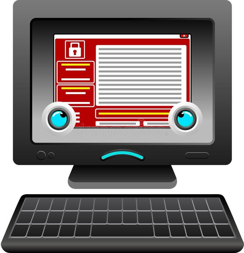Carácter trastornado y triste agraviado del ordenador que mira la pantalla wannacry del mensaje del malware ilustración del vector