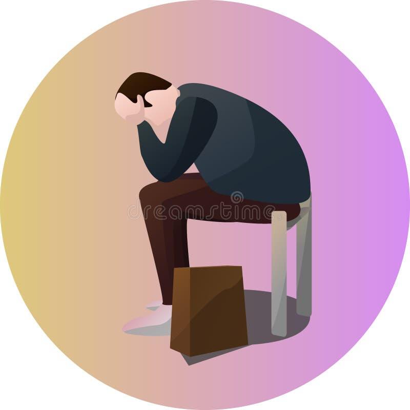 Carácter triste de la actitud del viajero ilustración del vector