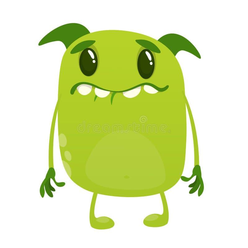 Carácter triste del extranjero del verde de la historieta Colección grande de monstruos lindos para Halloween Ilustración del vec libre illustration