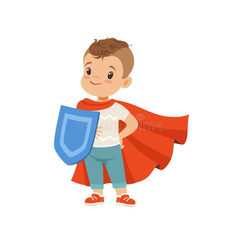 Carácter valiente lindo del niño pequeño en el cabo rojo que se coloca con el ejemplo del vector del escudo en un fondo blanco stock de ilustración