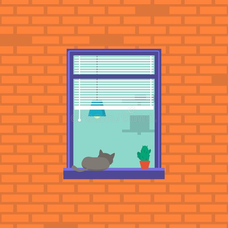 Carácter vecino de la historieta en la ventana Vector stock de ilustración