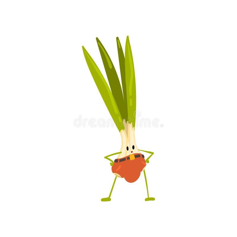 Carácter vegetal de la cebolla valiente linda en pantalones con el ejemplo divertido del vector de la cara libre illustration