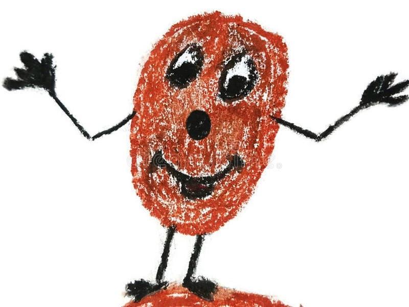 Carácter vegetal sonriente divertido de la patata dibujado con los creyones libre illustration