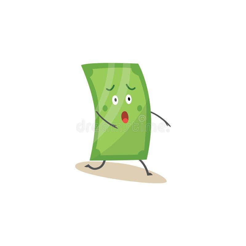 Carácter verde chocado del dólar que se coloca en un estilo de la historieta de la rodilla ilustración del vector