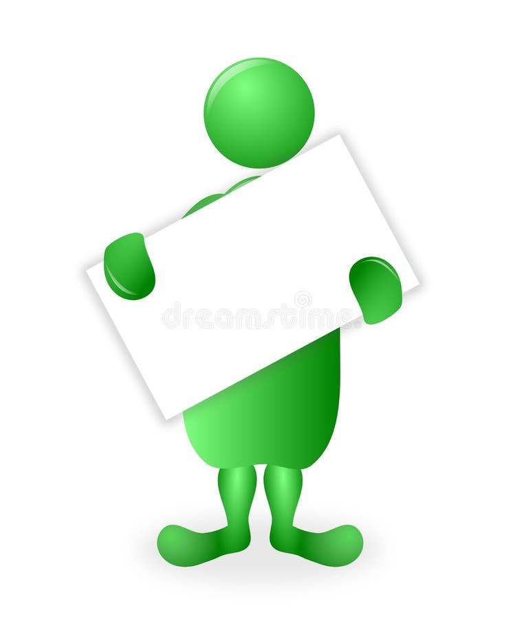 Carácter verde 3D que lleva a cabo un tablero en blanco blanco del cartel ilustración del vector