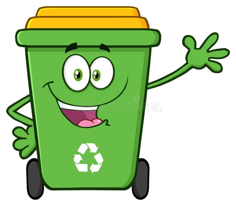 Carácter verde feliz de la mascota de la historieta de la Papelera de reciclaje que agita para saludar stock de ilustración