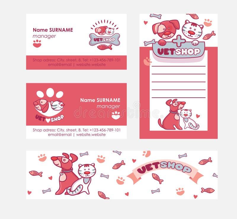 Carácter veterinario del animal de animal doméstico del vector en negocio-tarjeta del vetshop y sistema vetclinic del ejemplo del libre illustration