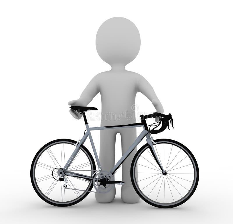 Carácter y bici blancos ilustración del vector