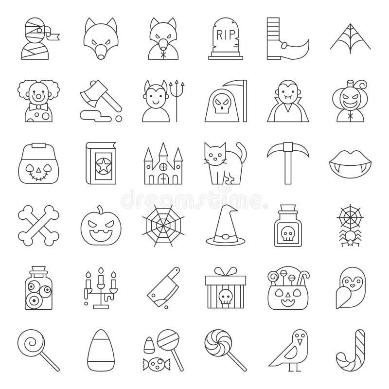 Carácter y cosas fantasmagóricas, str editable de Halloween del icono del esquema stock de ilustración