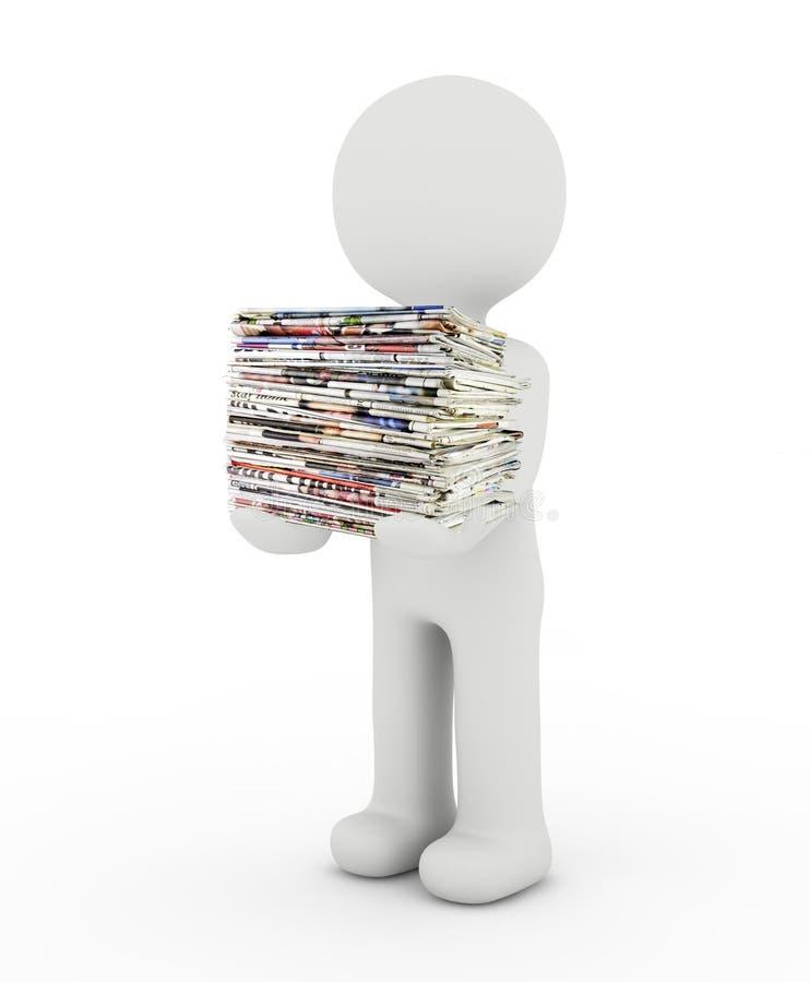 Carácter y periódico blancos stock de ilustración