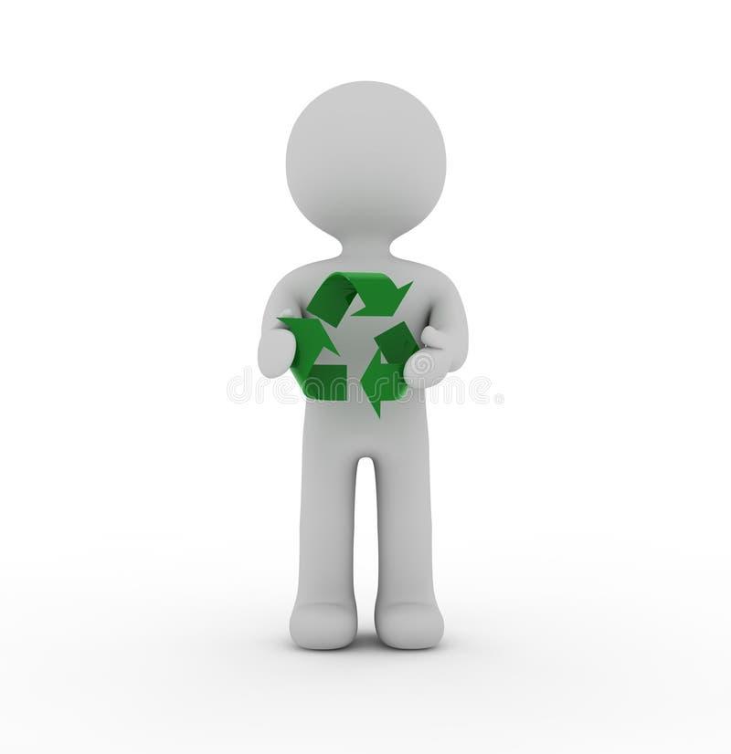 Carácter y reciclaje blancos stock de ilustración