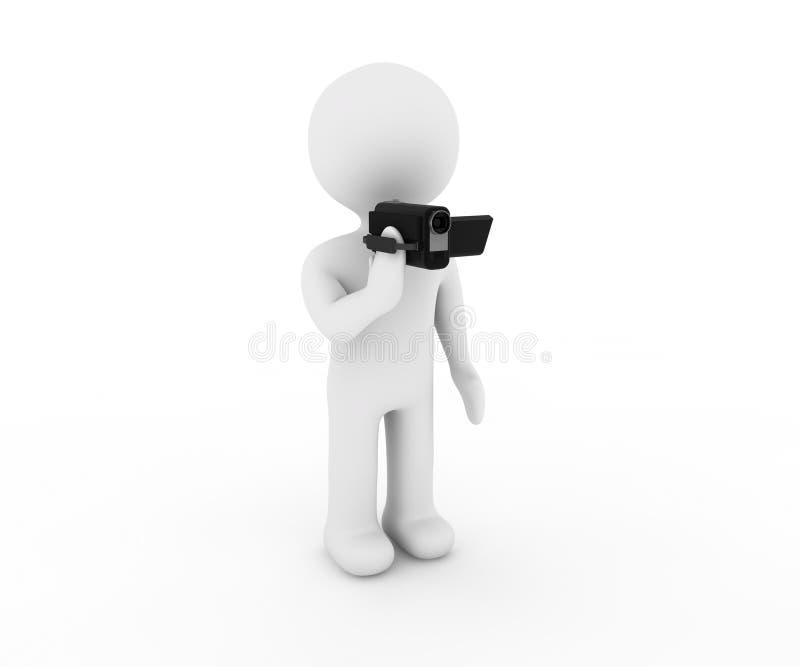 Carácter y vídeo blancos stock de ilustración
