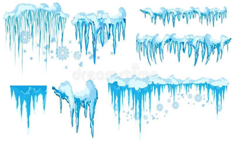 Carámbano del vector y clipart de los elementos de la nieve Diverso casquillo de la nieve imagenes de archivo