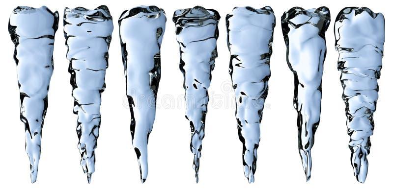 Carámbanos claros azules fijados stock de ilustración