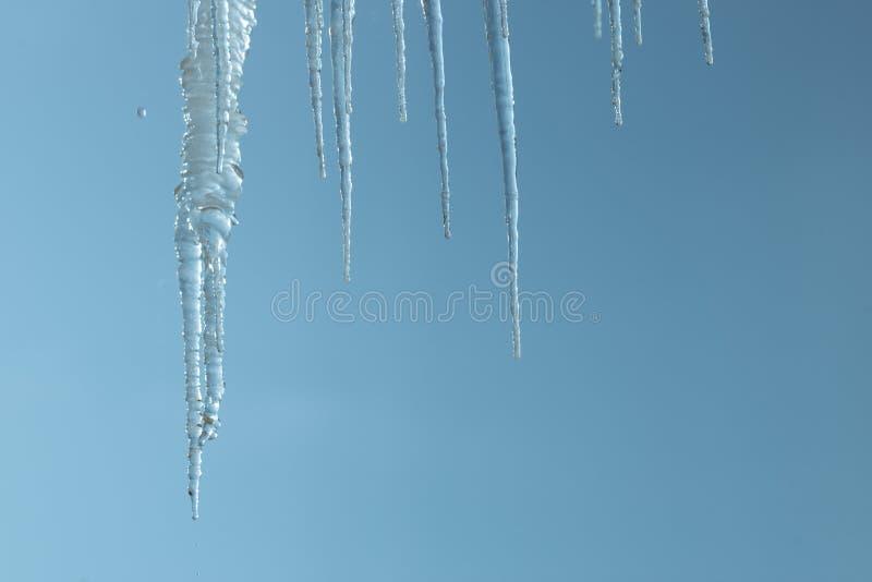 Carámbanos en el fondo de un cielo claro el hielo derrite y cae del tejado es un peligro a la gente fotos de archivo libres de regalías