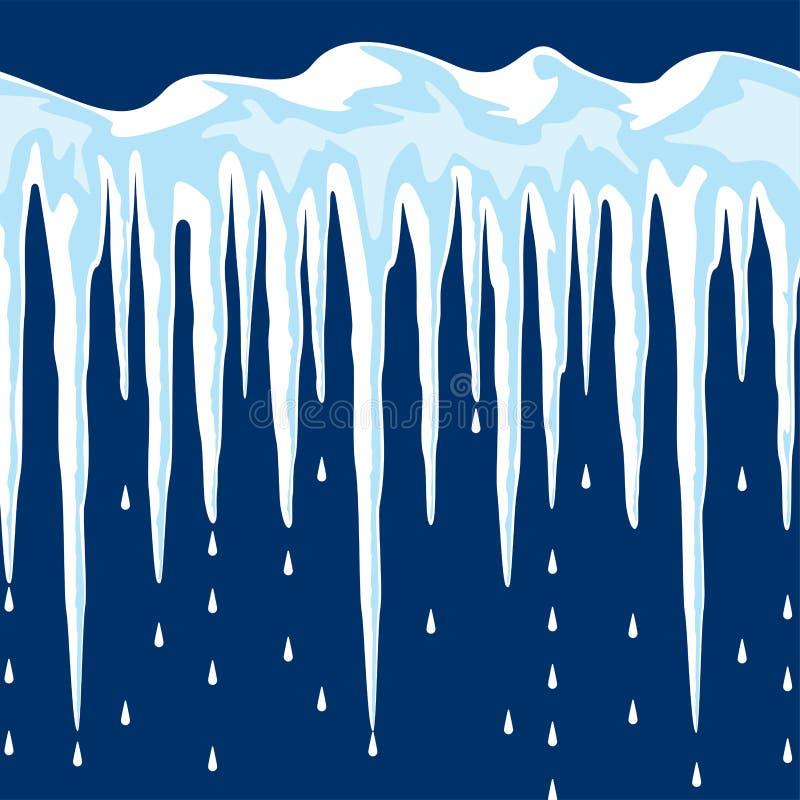 Carámbanos y fondo de la nieve ilustración del vector