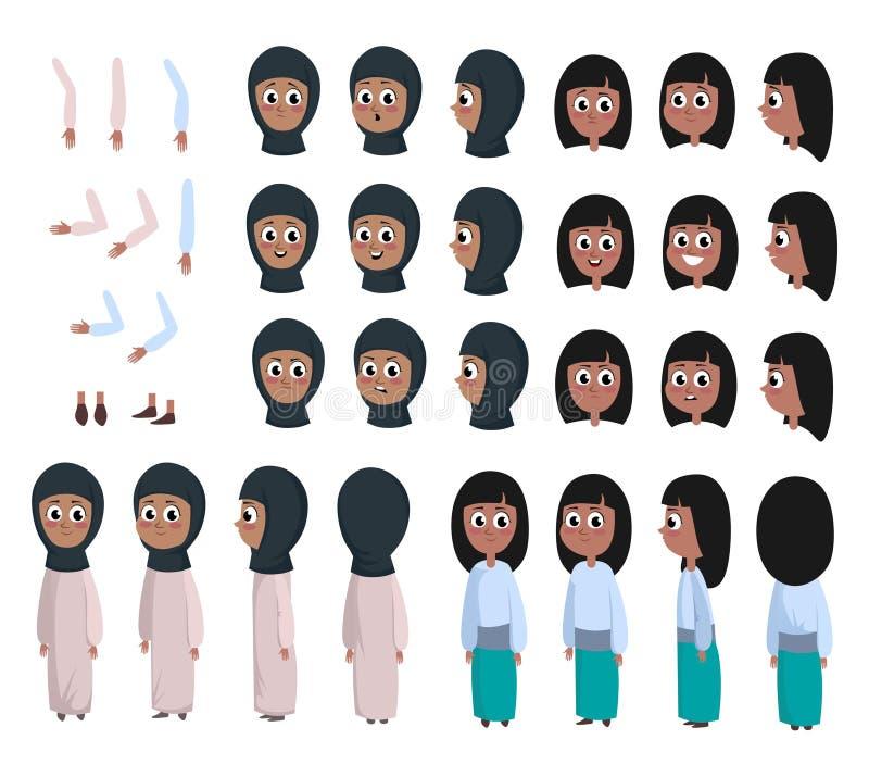 Caráter árabe da menina no estilo liso Menina muçulmana DIY com expressões faciais diferentes e braços e cabeça moventes Vestir á ilustração royalty free
