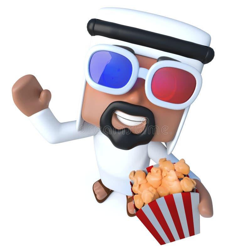 caráter árabe do xeique dos desenhos animados 3d engraçados que come a pipoca nos filmes ilustração royalty free