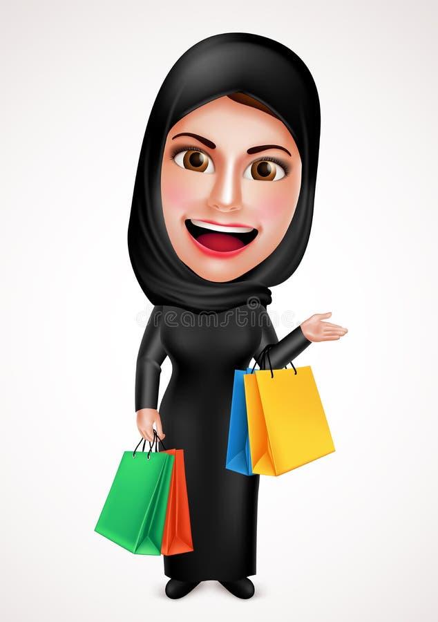 Caráter árabe muçulmano fêmea do vetor que guarda os sacos de compras que vestem o hijab ilustração royalty free