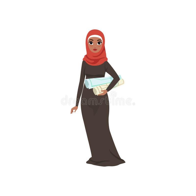 Caráter árabe que está com com rolos em suas mãos, mulher muçulmana elegante da mulher de negócios no vetor tradicional do vestid ilustração royalty free