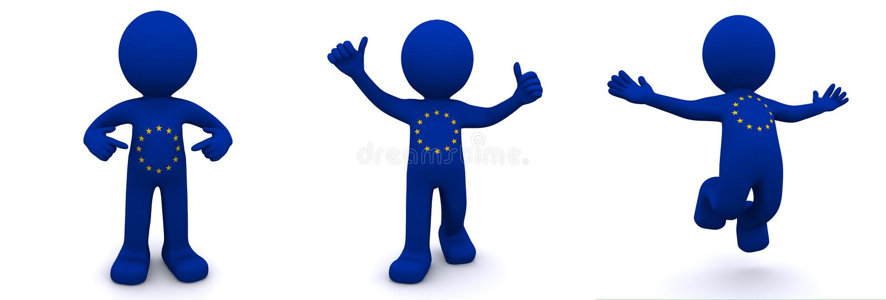caráter 3d textured com a bandeira da União Europeia ilustração stock