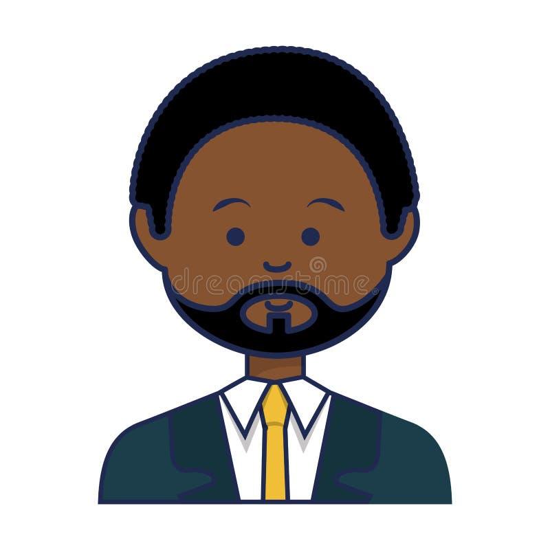 Caráter africano do avatar da afiliação étnica do homem de negócios ilustração do vetor