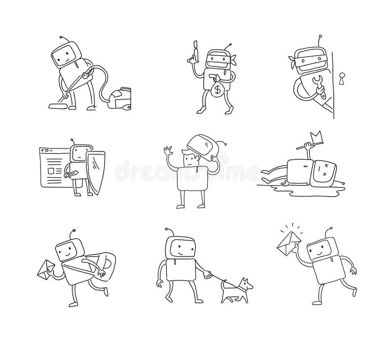 Caráter ajustado do robô do esboço com negócio Limpeza da casa Passeio do cão Situações diferentes Cortando um computador Mão ilustração royalty free