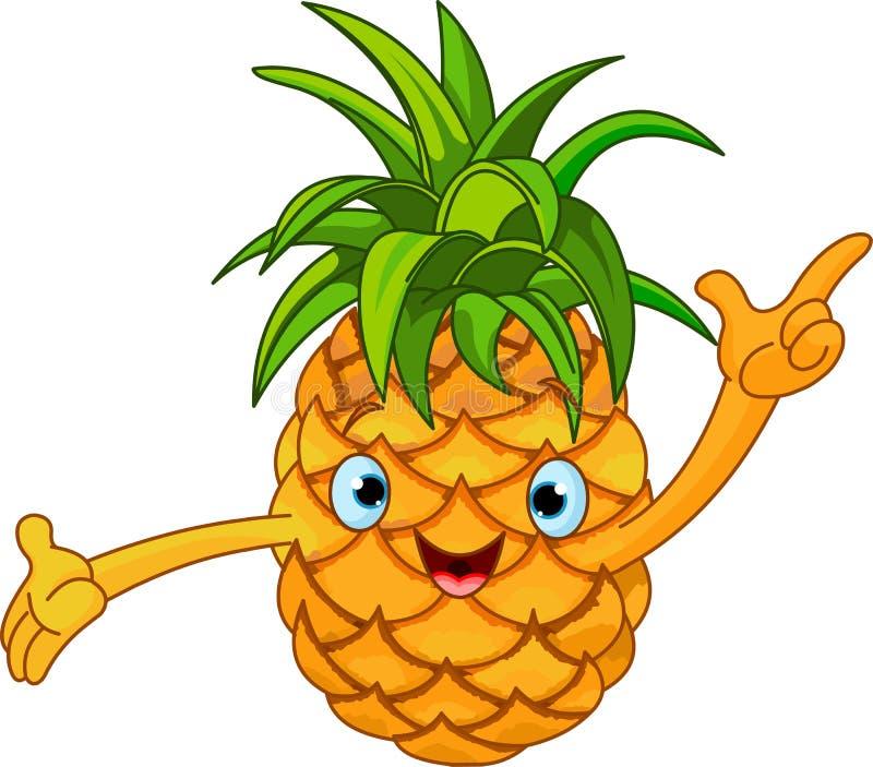 Caráter alegre do abacaxi dos desenhos animados ilustração royalty free