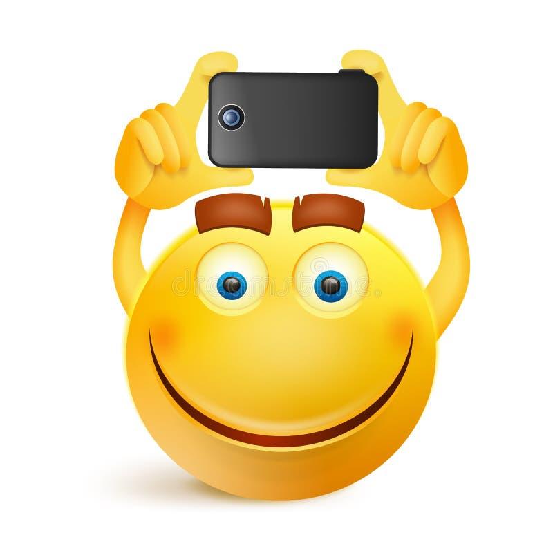 Caráter amarelo da cara do smiley com telefone esperto ilustração stock