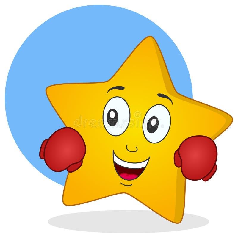 Caráter amarelo da estrela com luvas de encaixotamento ilustração royalty free