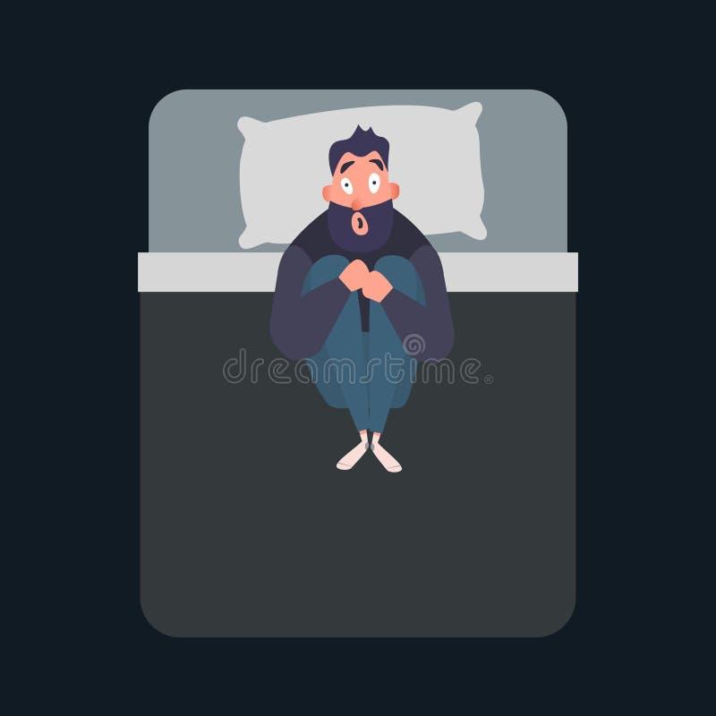 Caráter amedrontado do homem Ataque de pânico Medo, conceito da fobia Ilustração lisa do vetor do transtorno mental O homem sofre ilustração royalty free