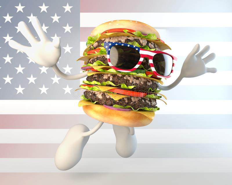 Caráter americano do Hamburger ilustração do vetor
