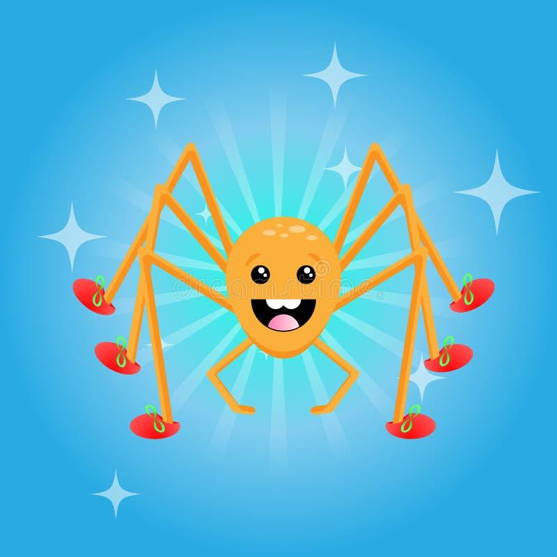 Caráter amigável feliz da aranha que veste sapatas vermelhas foto de stock royalty free