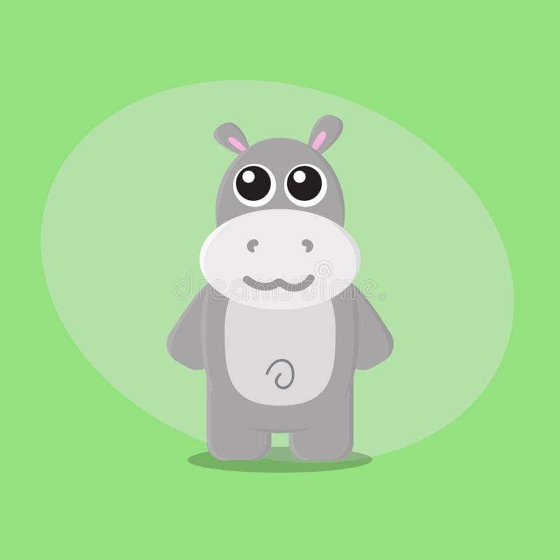 Caráter animal bonito liso da infância do cartão do jardim zoológico dos desenhos animados do hipopótamo ilustração stock