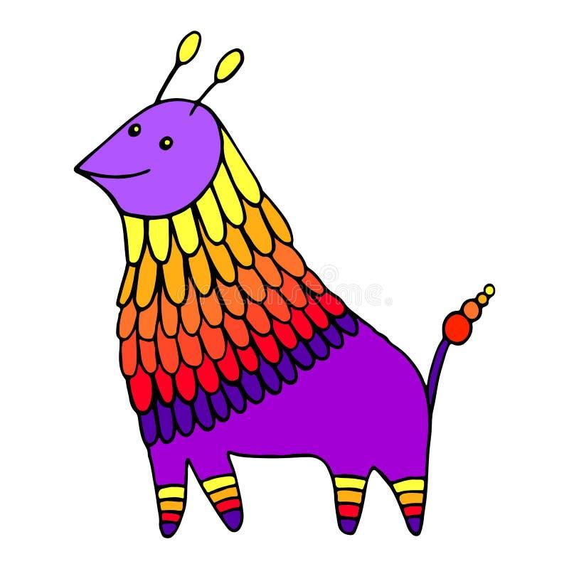 Caráter animal decorativo da fantasia colorida Criatura engraçada dos desenhos animados da garatuja Estrangeiro bonito tirado mão ilustração do vetor
