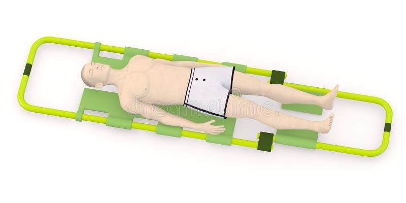 Caráter artificial no esticador - inoperante ou ferido ilustração stock