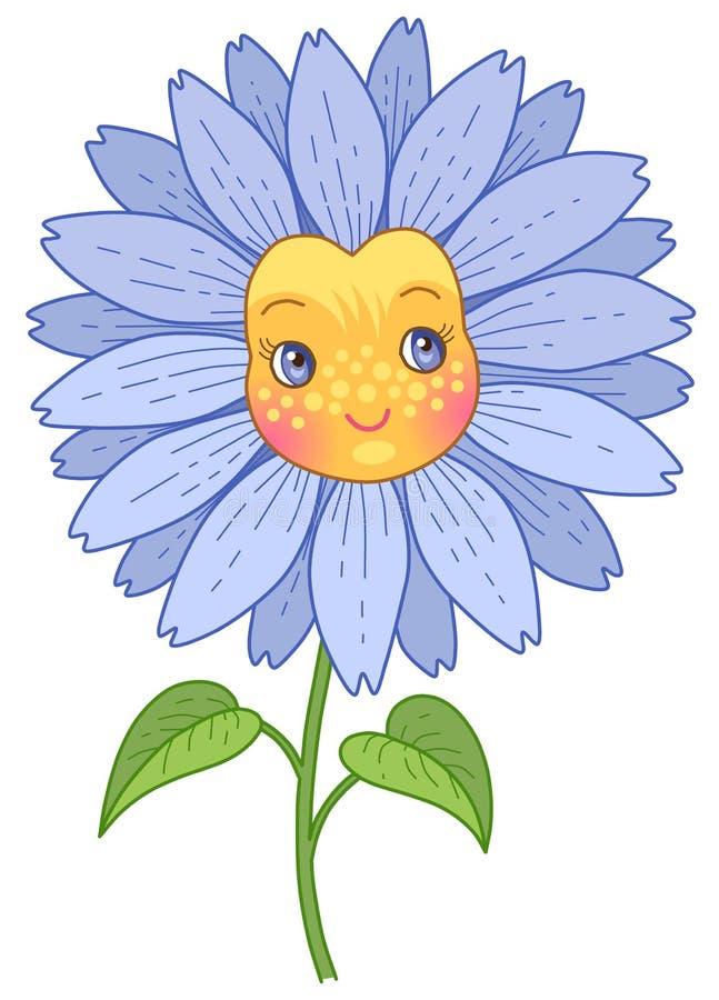 Caráter azul da flor ilustração stock