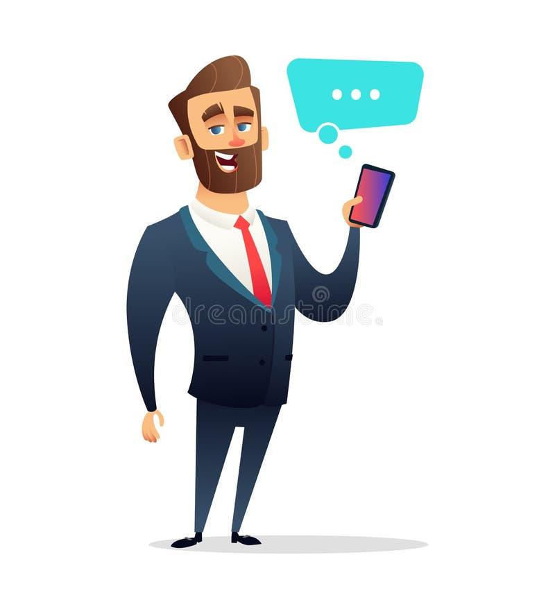 Caráter bem sucedido do homem de negócios da barba que guarda o telefone esperto Chamada, usando o telefone celular esperto Ilust ilustração do vetor