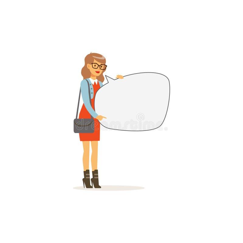 Caráter bonito da jovem mulher com quadro de mensagens vazio, ilustração do vetor da bolha do discurso ilustração do vetor