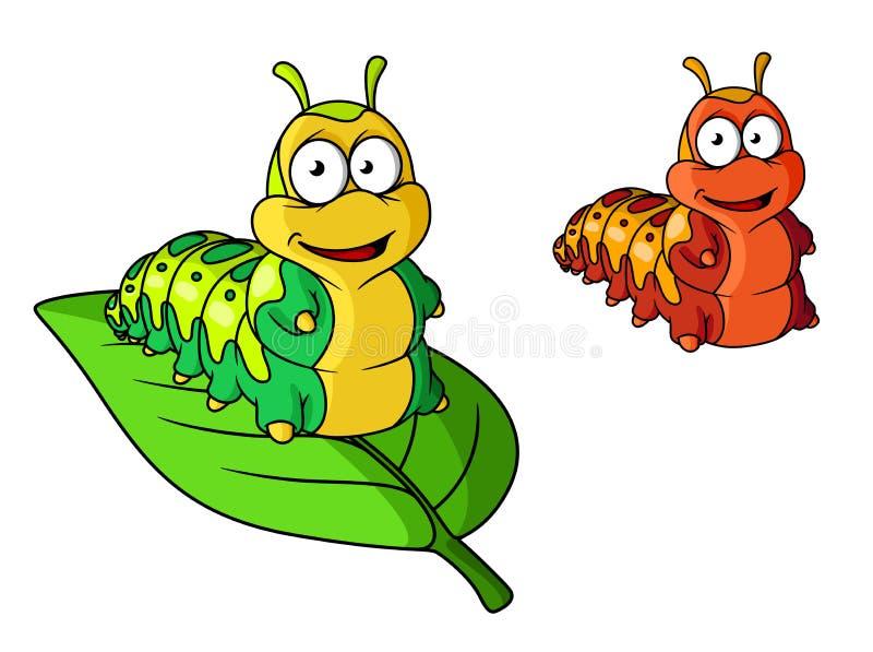 Caráter bonito da lagarta dos desenhos animados ilustração do vetor