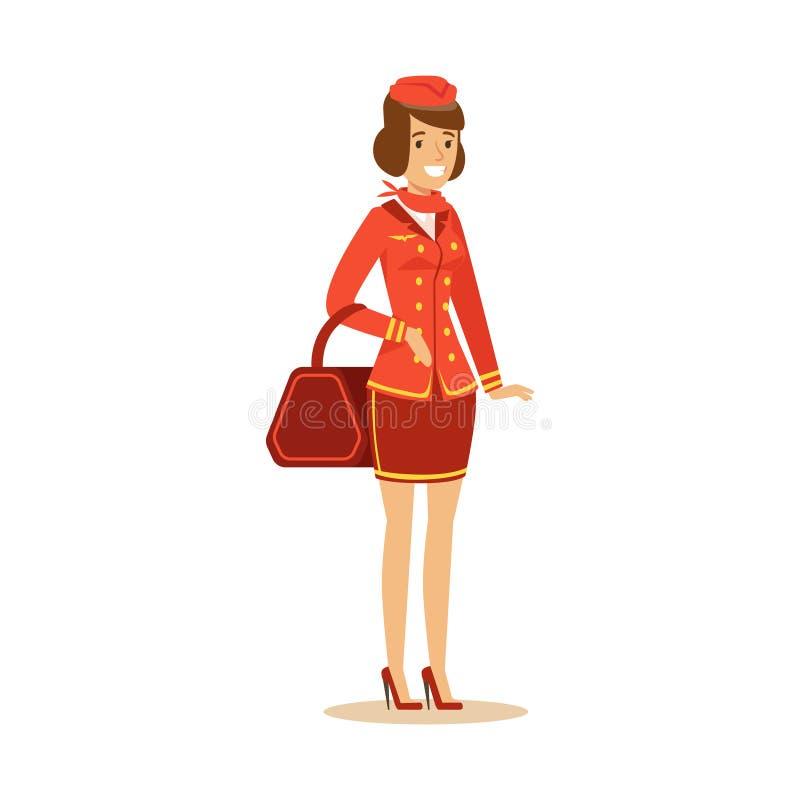 Caráter bonito de sorriso da comissária de bordo no uniforme vermelho com saco, aeromoço na ilustração do vetor do avião ilustração stock