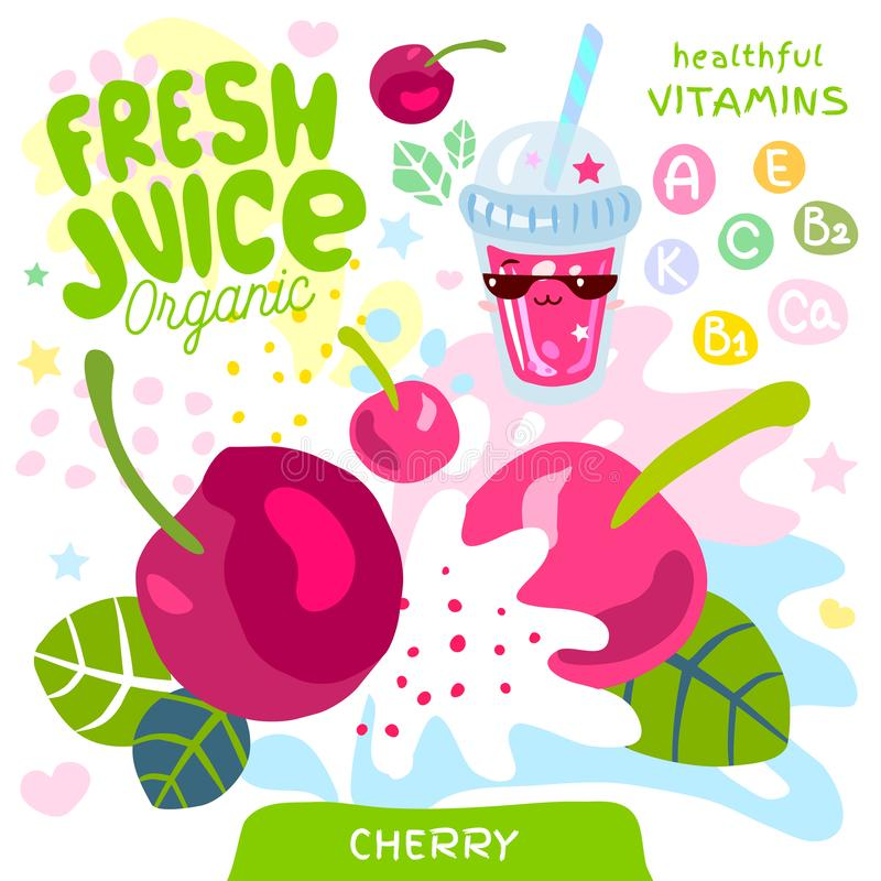 Caráter bonito de vidro orgânico do kawaii do suco fresco Copo dos batidos do iogurte das bagas da baga da cereja Ilustra??o do v ilustração royalty free